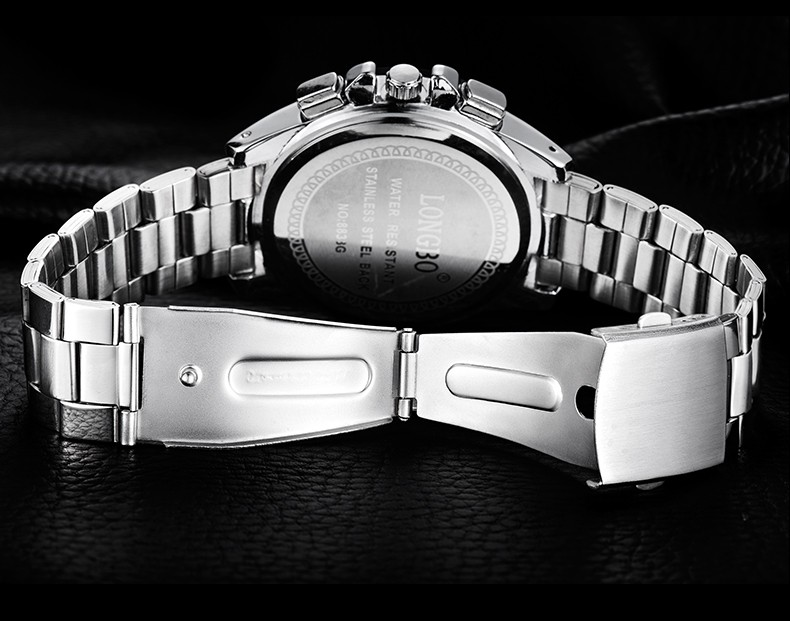 Longbo бренд часы мода мужчины водонепроницаемый нержавеющей стали кварцевые часы аналоговые свободного покроя спортивные наручные часы Relogio Masculino LB8833