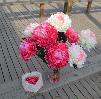 """Silk Peony Bush (5 heads/piece) 53cm/20.87"""" Length 10Pcs Artificial Flowers Peonies for Home Xmas Showcese Decor Wedding Flower(China (Mainland))"""