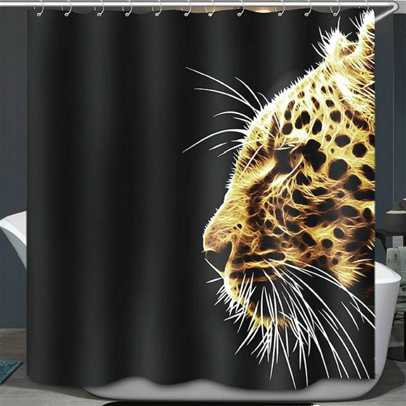 180*180cm 3D Elephant Leopard L-ion Printed Shower Curtain Waterproof Polyester Bath Curtain Bathroom Product With 12 Hooks Gift(China (Mainland))