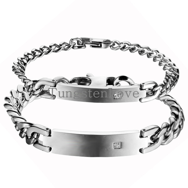 2015 Simple Glossy Silver Color Stainless Steel ID Bracelet For Men Women with Crystal Punk Rock Chain Bracelets casal pulseira(China (Mainland))
