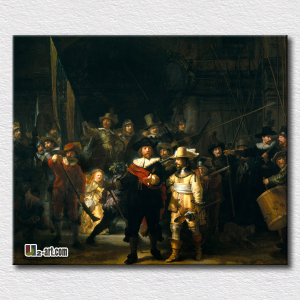 The Night Watch by Dutch painter Rembrandt van Rijn canvas prints world painting unique gift for clients(China (Mainland))