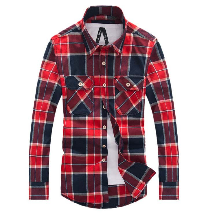 Men's Shirt Plaid Brand Checker Men Clothing Chemise Homme Long Sleeve 2015 New Arrival Top Quality Big Size Camisa Masculina(China (Mainland))