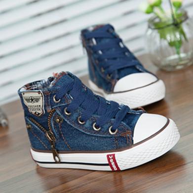 Размер 25 - 37 дети обувь дети брезент кроссовки мальчики джинсы квартиры девочки сапоги деним сторона молния обувь