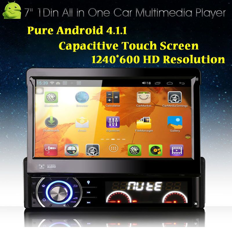 "Free Shipping 7"" +1024*600 Resolution 1 Din Car DVD Player Single Din Car Radio Car PC with Pure Android 4.1.1+Capacitive Touch(China (Mainland))"