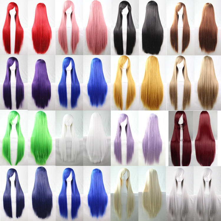 80Cm Heat Resistant Harajuku Anime Cosplay Wigs Young Long Straight Synthetic Hair Wig Costume Party Wigs For Women 22 Colors(China (Mainland))