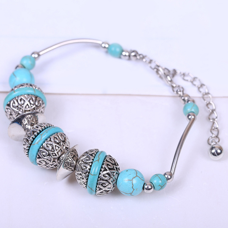 Creative DIY Jewelry Turquoise Jewelry Restoring Bracelet Plated Silver Drop Shipping BL-0181-SV(China (Mainland))
