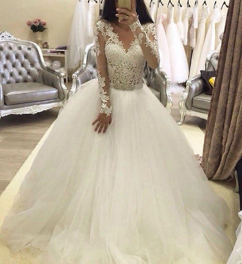 Luxury Ball Gowns Saudi Arabia Wedding Dress Lace Long