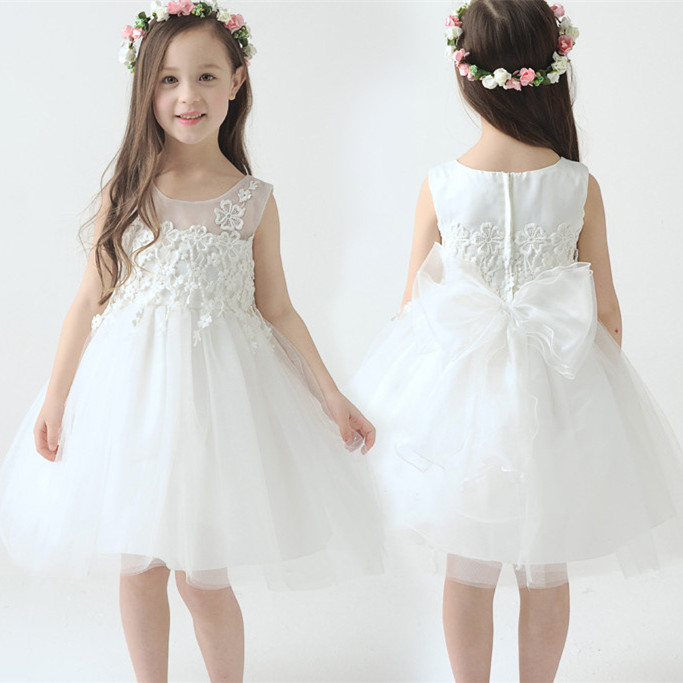 New Children Clothing Elegant White Lece Bow Girls Dresses