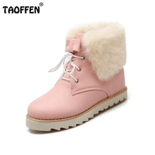 Buy Women Boots Woman Lace Ankle Boots Sweet Ladies Thickened Plush Warm Winter Boot Round Toe Footwear Shoes Woman Size 34-39 for $26.68 in AliExpress store