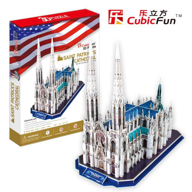 Promotion Gift Cubic Fun 3D Puzzle Saint Patrick's Cathedral (U.S.A) DIY Puzzle MC103h(China (Mainland))