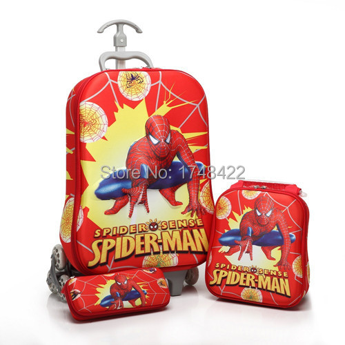 Kids Spider-Man Trolley Luggage+Pencil+Bag Set/Children Cartoon Size:42*13*32CM Travel Bags,Suit - Lovely Treasure House store