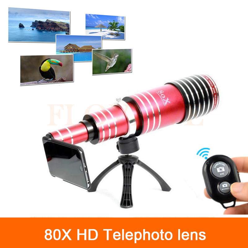 80X Metal Telephoto Zoom Lens iPhone 5 5s 6 6s 7 Plus Samsung Telescope Phone Camera Lentes Bluetooth Shutter+Tripod Holder