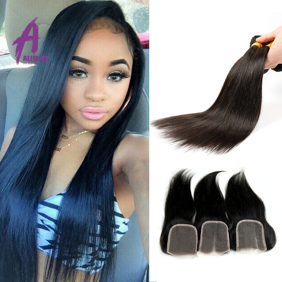 6A Brazilian Virgin Hair Straight With Closure 3 Bundles Unprocessed Cheap 100 Human Hair Weft With Closure Rosa Hair Products<br><br>Aliexpress
