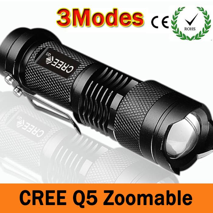 Mini Powerful Flashligt CREE Q5 Waterproof XP-6 LED Flashlight 3 Modes Zoomable LED Torch penlight free shipping ZK93(China (Mainland))