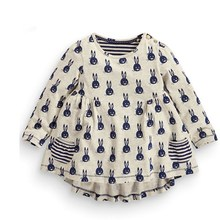 2016 Spring and Autumn new baby long-sleeved clothes fashion long section girl T-shirt Cotton clothes for children