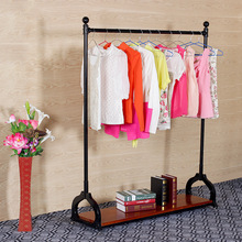 Vintage clothing store display shelf hanger for hanging clothes rack clothing rack iron wheels off the Strip wholesale(China (Mainland))