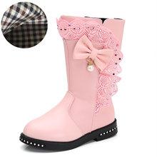 סתיו ילדים יחיד מגפי ילדים של שלג מגפי חורף חם בנות מגפי עור אופנה נסיכת מגפיים בתוספת קטיפה תחרה קשת נעליים(China)