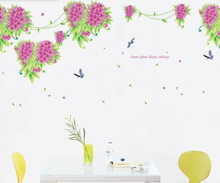 Nature Heliotrope Lilac In Your House Flower Wallstickers Wall Stickers Home Decor For Decorative Rooms