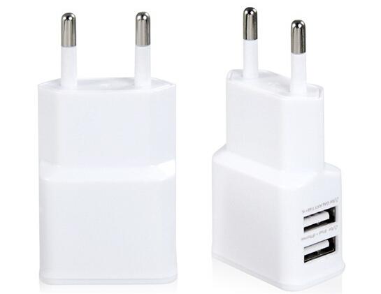 EU Plug Dual USB Travel Wall Charger for iPhone/iPad/Samsung (White)