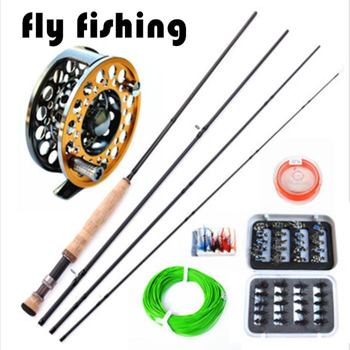 Free Shipping Leyte skyhawk set fly fishing rod fly fishing reel fishing tackle lure set fishing