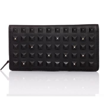 Rivet black long design genuine leather wallet male boutique