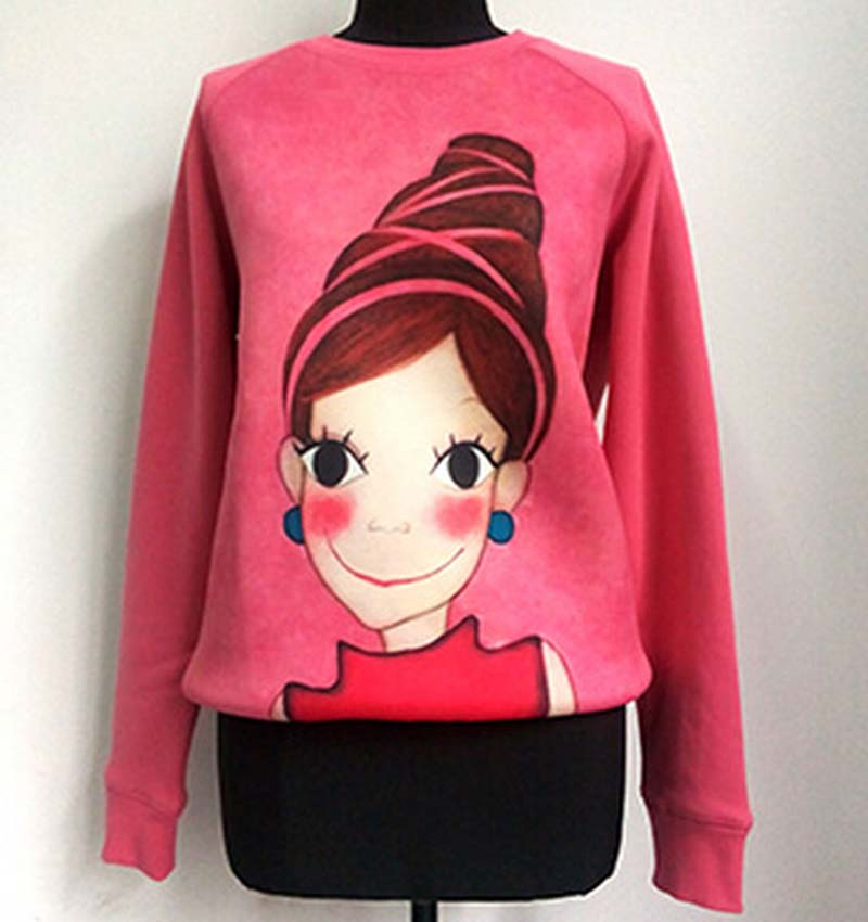 2015 Autumn sweatshirt women korean brand fashion cute cartoon girl print pullover hoodies sweatshirts pink hoodie Nora30932(China (Mainland))
