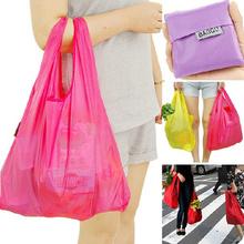 4pcs Reusable foldable shopping bag Travel pocket handbag shoulder Storage bags Grocery Polyester Portable(China (Mainland))