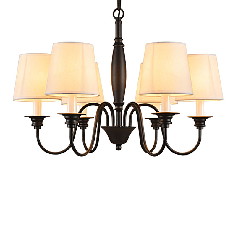 wrought iron chandelier white lampshade light fixtures lustre 110 240v. Black Bedroom Furniture Sets. Home Design Ideas