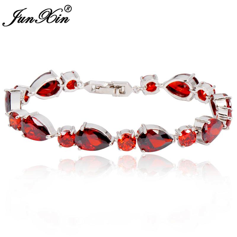 Fashion Jewelry Women Charm Bracelet Ruby Red Color AAA Zircon Stone Bracelets pulseiras femininas Free Shipping BR0313(China (Mainland))