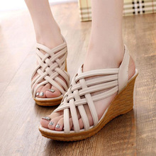 new 2016 Hot Elegant Sandals For Woman Women's High Platforms Cut Outs Pattern Checkered Belt Gladiator Sandal XWZ275