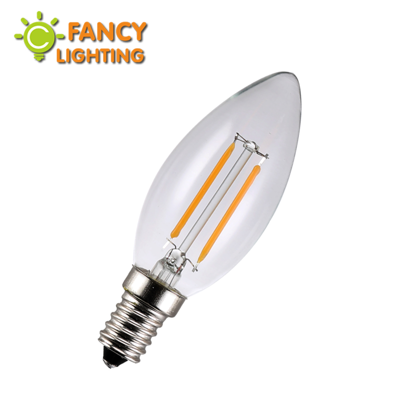LED Edison Filament light Bulb 220V C35J E14 2W 4W led Candle bulb Energy saving 360 Degree replace incandescent bulb home decor(China (Mainland))