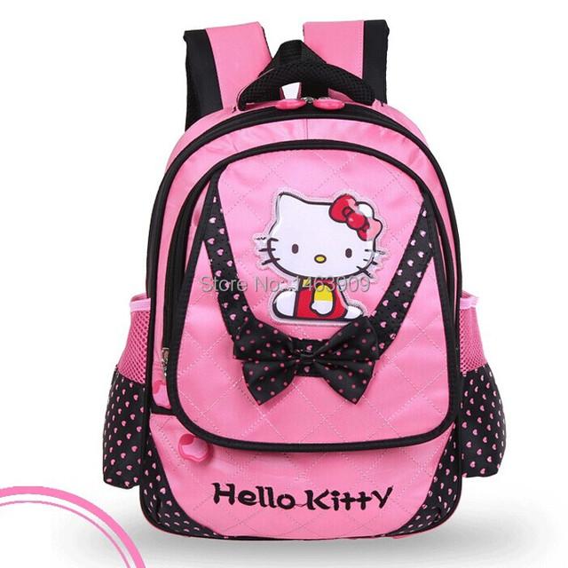 2016 новых привет котенок рюкзак малыш мешок детей розовый красный школьные сумки ...