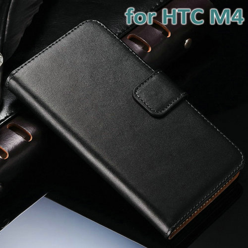 10 pcs/lot Stand Wallet Style Genuine Leather Case for HTC ONE mini M4 601E Flip Book Leather Cover with Card Holder Wholesale