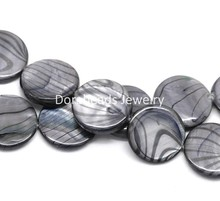 "8SEASONS Gray Zebra Print Round Shell Loose Beads 20mm, 40cm(15-3/4"") long, sold per lot of 1 strand (B17960)(China (Mainland))"