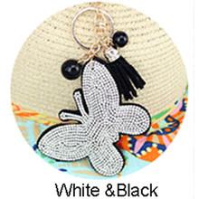 Thời trang Ren dễ thương hình bướm 10 colorleather móc khóa Charm Mặt Dây Chuyền Pha Lê Ví nữ Dây Chuyền Chìa Khóa Nhẫn Quà Tặng(China)
