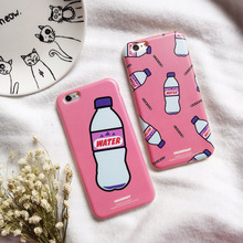 New Hot Cool Fashion Stylish Boxed Mineral Water Bottle Soft Pink TPU Skin Shell For iPhone 6 s + Fancy Phone Cover Cases Girl(China (Mainland))