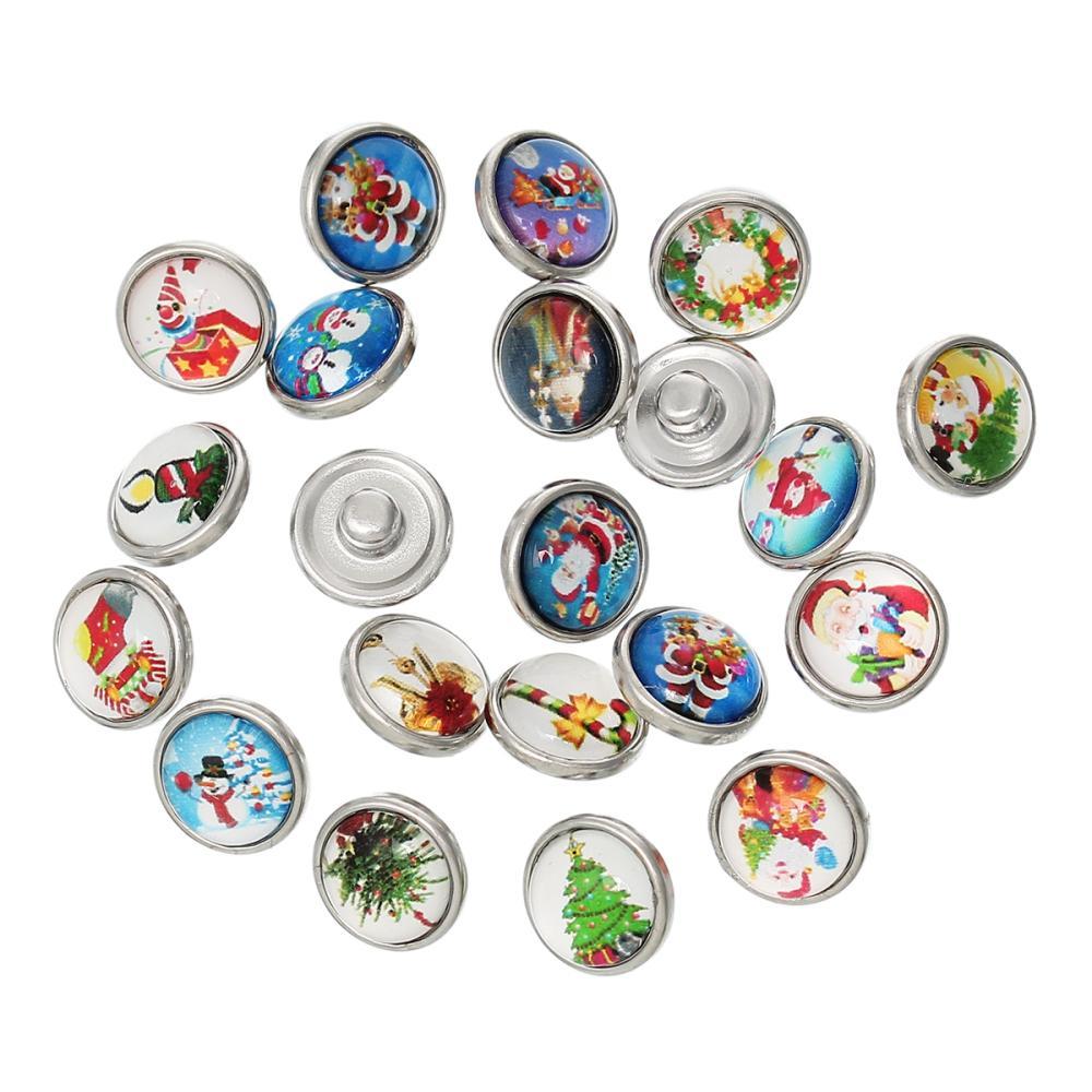 Fashion Snap Buttons Fit Fashion Bracelets Round At Random Christmas Pattern 12mm Dia,Knob:4.8mm,10PCs 2015 new(China (Mainland))