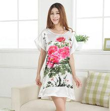 Novelty Sexy Robe Bath Gown Nuisette Pijama Mujer White China Women Round Collar Nightgown Printed Hot Sale Ladies summer Xsz021(China (Mainland))