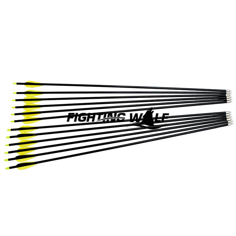 12pcs Lot 80CM 31 7 Yellow Archery Fletched Hunter Arrows Fiberglass Practice Steel Arrow Head for