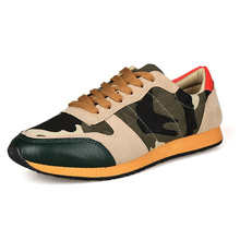 Promotion New 2014 Spring and Autumn Men's Shoes Breathable Fashion Canvas Shoes Camouflage Sport Sneakers and Men Flat