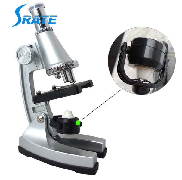 100x, 200x, 450x Portable Refined Monocular Children Microscope with Electric Light Source for Students Educational Purpose