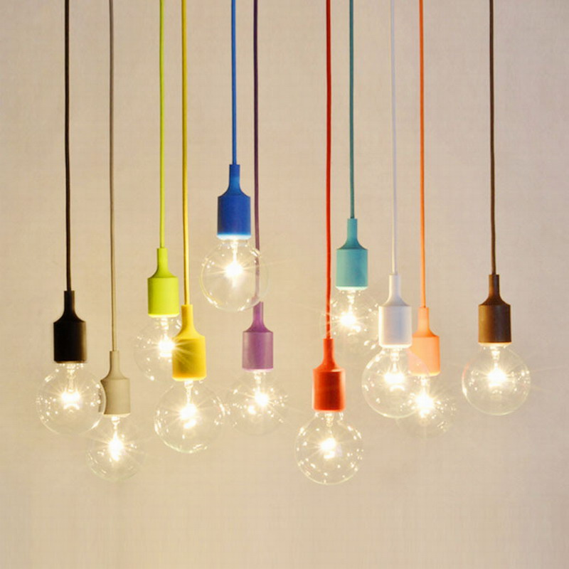 DIY 13 colorful optional collocation Silicone braided rope single head modern led ceiling pendant lamp e27 cord brief light bar(China (Mainland))