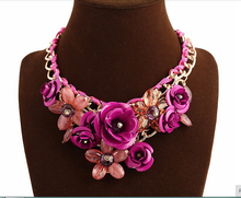 Fashion Collar Necklace & Pendants Hot Sale Brand 8colors Crystal Big Flower Necklaces Vintage Choker Statement Necklace Jewelry(China (Mainland))