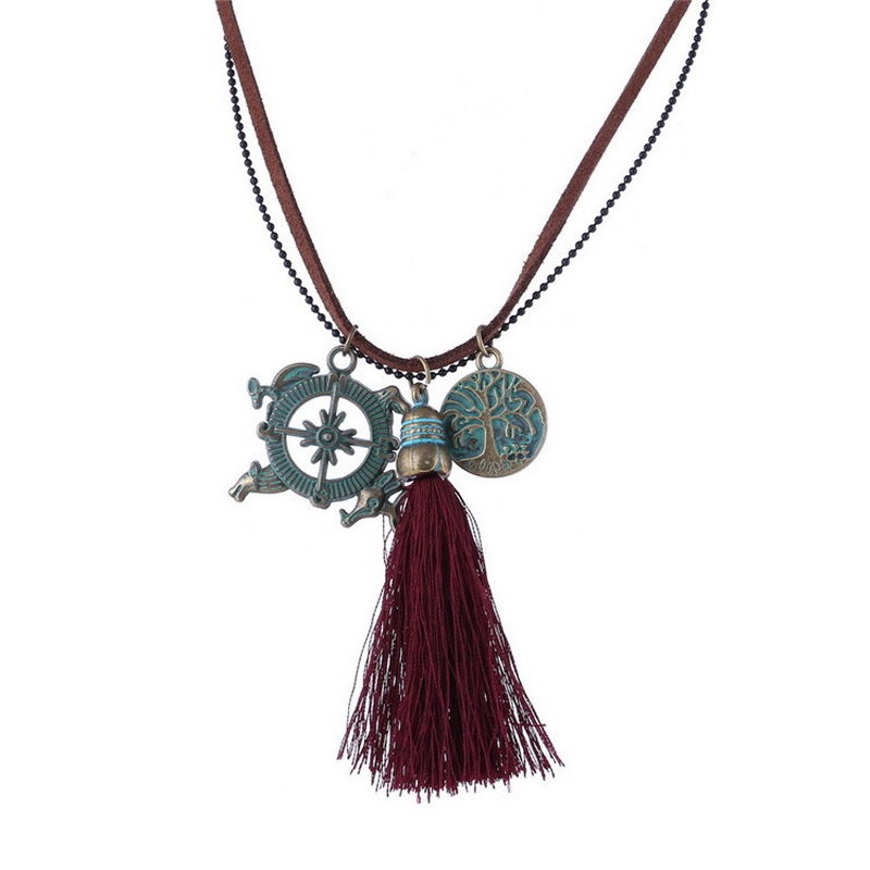 Bohemian Pendant Necklaces Antique Vintage Camello Compass Life Tree Charm Tassel Gipsy Maxi Necklace Women Costume Jewelry(China (Mainland))