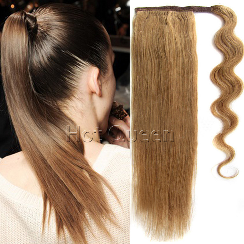 Hot 22 inches Chignon Middle Length Remy Straight Ponytail Clip In Human Hair Extensions 80g Brazilian Human Hair Ponytails