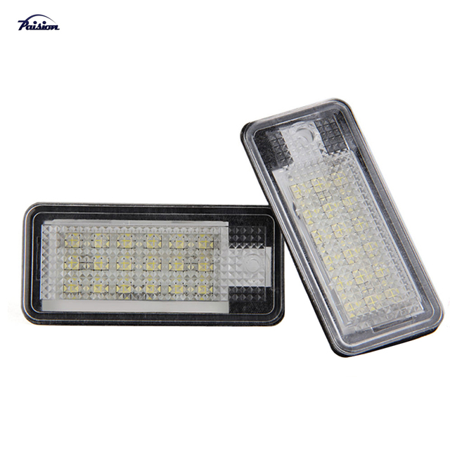 2Pcs 18SMD No Error LED Number License Plate Light for Audi A3 A4 A6 A8 Q7