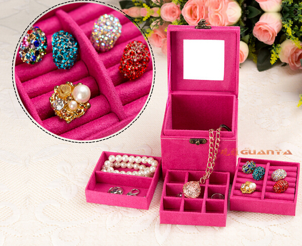 Free shipping candy colors jewlery casket makeup organizer 3 trays box for jewelry gift first choice wholesale(China (Mainland))