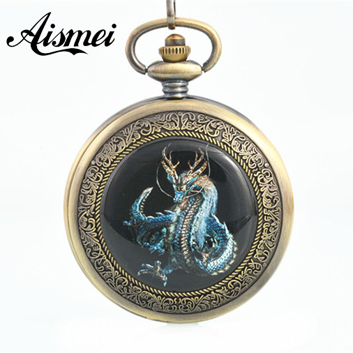 2017 Bronze mens steampunk watches fob antique dragon pocket watch chain mechanical relogio de bolso male orologio da tasca(China (Mainland))