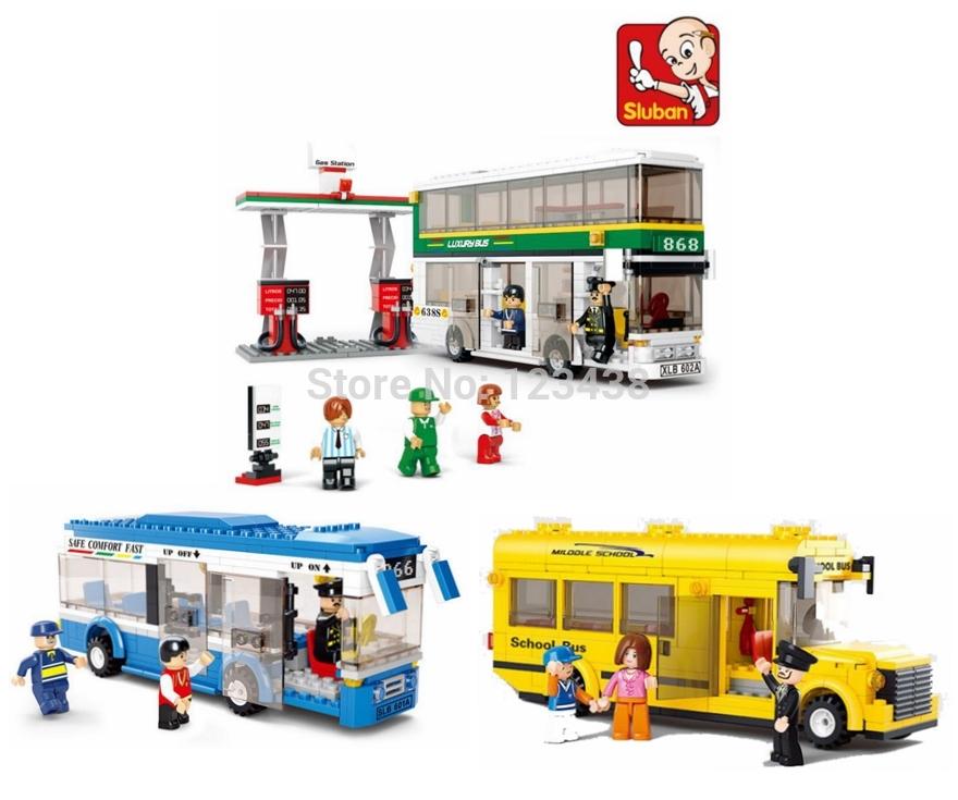 Sluban Plastic Building Blocks Single Double Deck School City Bus Plane DIY Bricks Toy Compatible with Lego Sets No retail box(China (Mainland))