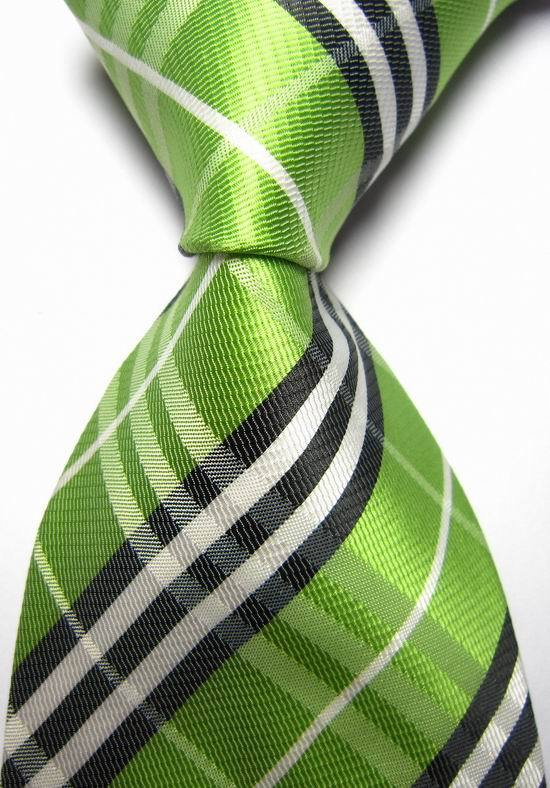 NT0122 Green Black Striped Men Ties Silk Classic Polyester Jacquard Woven Casual Necktie Fashion Wedding Party Holiday Gift Tie(China (Mainland))